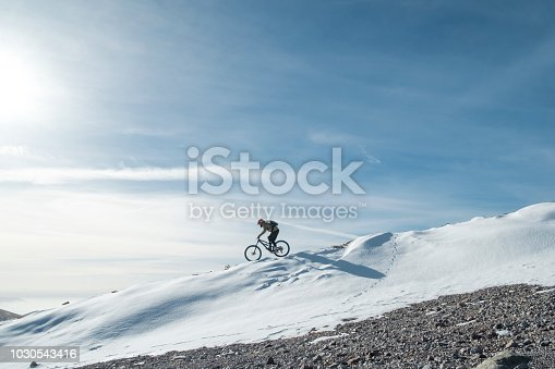 snow cyclist is training