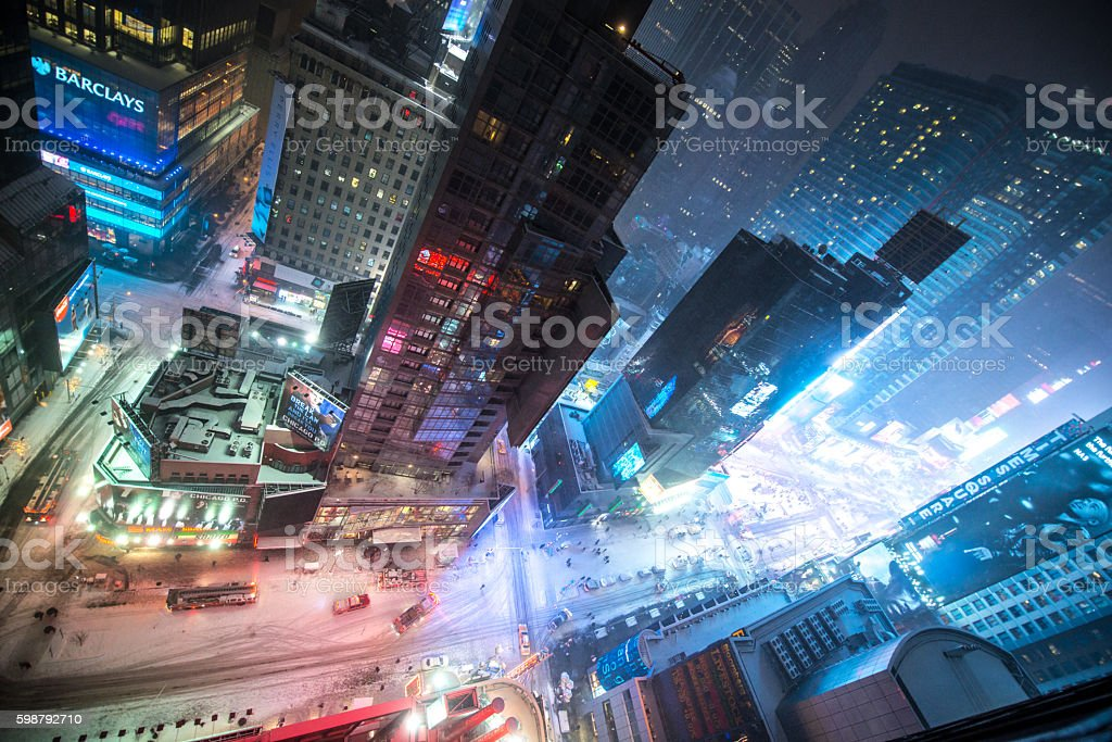 Snow Blizzad in New York, viewed from above stock photo
