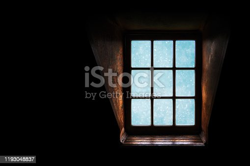 istock Snow blizzard outside the window, darkness 1193048837