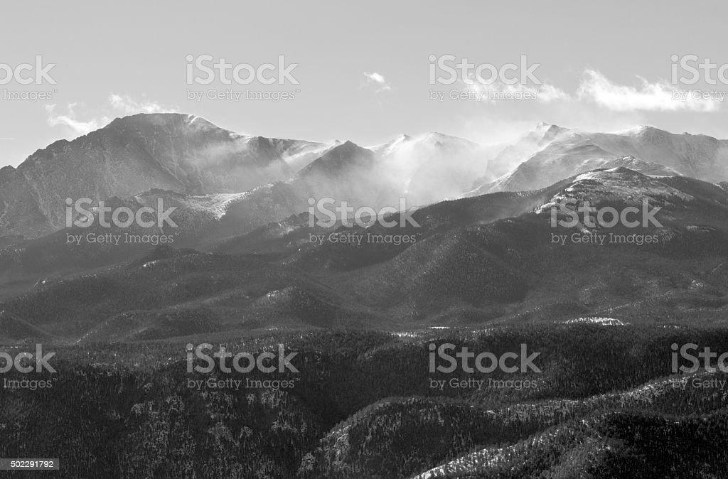 Snow Blowing on Pikes Peak stock photo