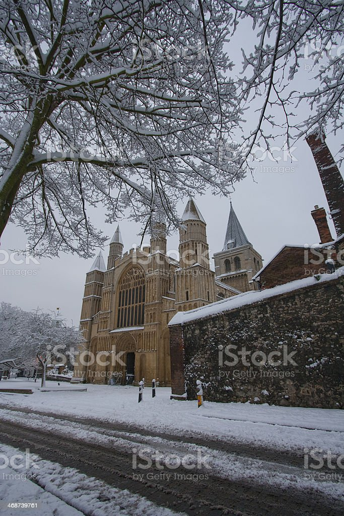 Snow bound Rochester Cathedral in Kent England royalty-free stock photo