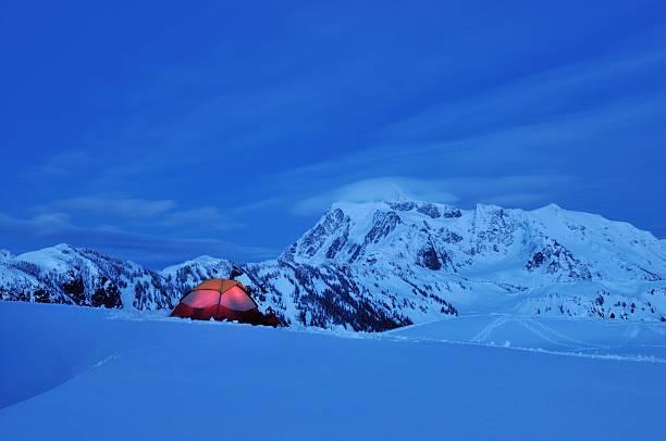 Snow Camping at Huntoon Point stock photo