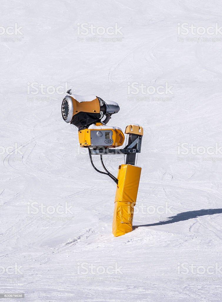 Snow Cannon in Alps stock photo