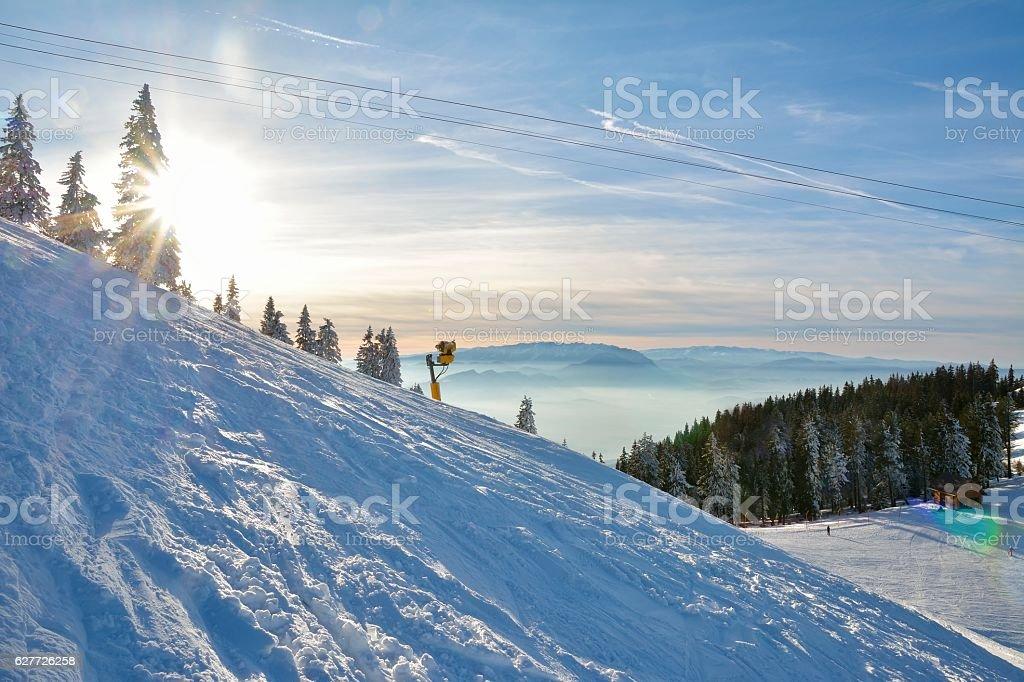 snow cannon making snow stock photo