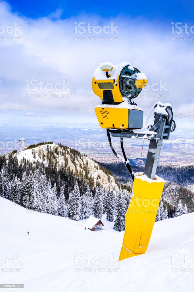 Snow cannon on ski slope, Poiana Brasov, Romania zbiór zdjęć royalty-free