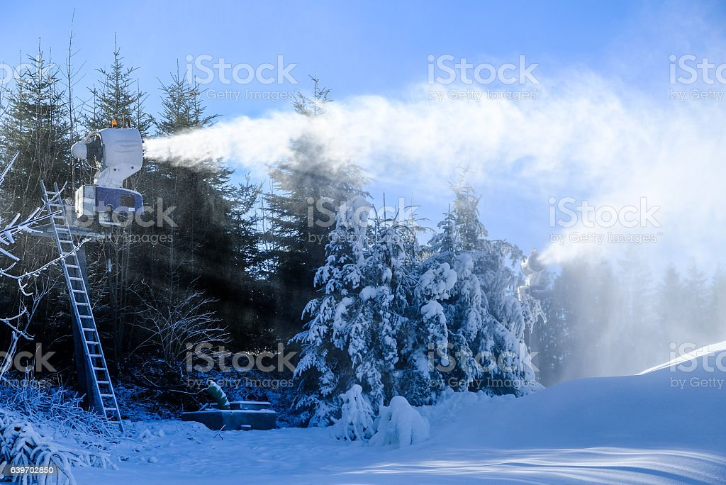 snow cannon stock photo