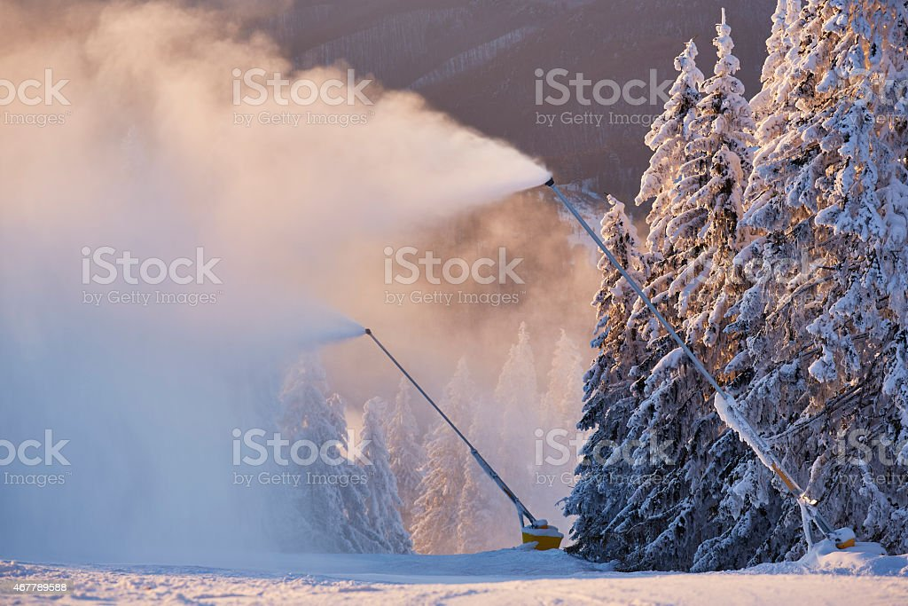 Snow cannons stock photo
