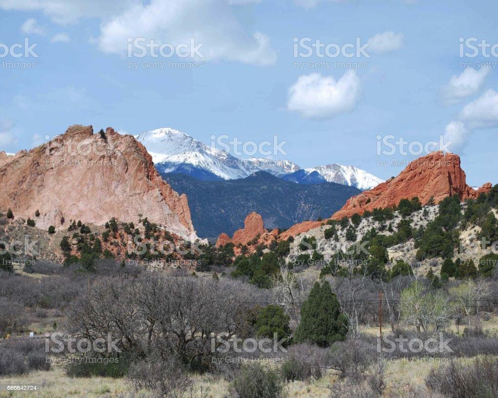 Snow Cap Mountains Seen From Garden Of The Gods Colorado