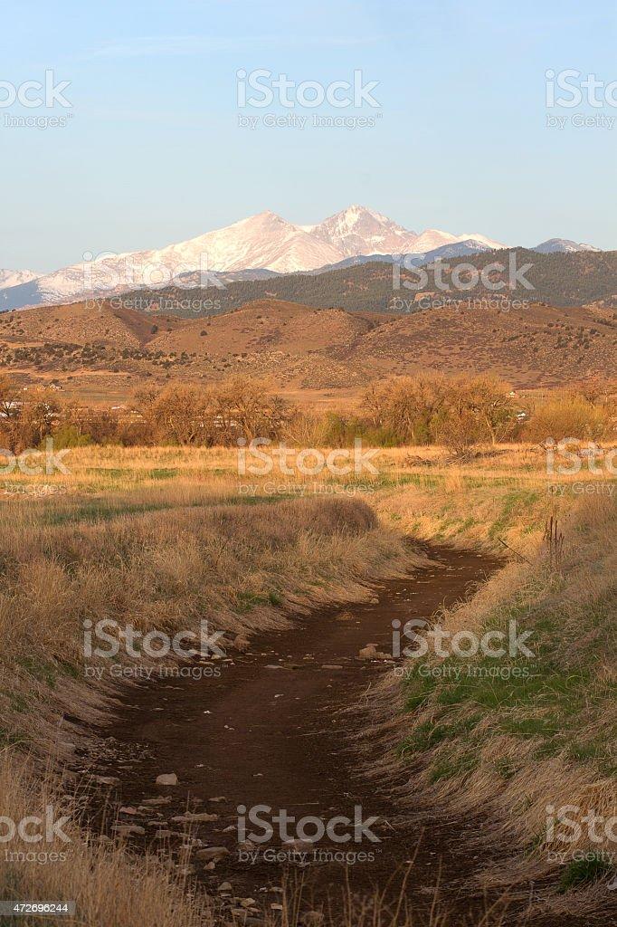 Snow Capped Longs Peak in Colorado stock photo