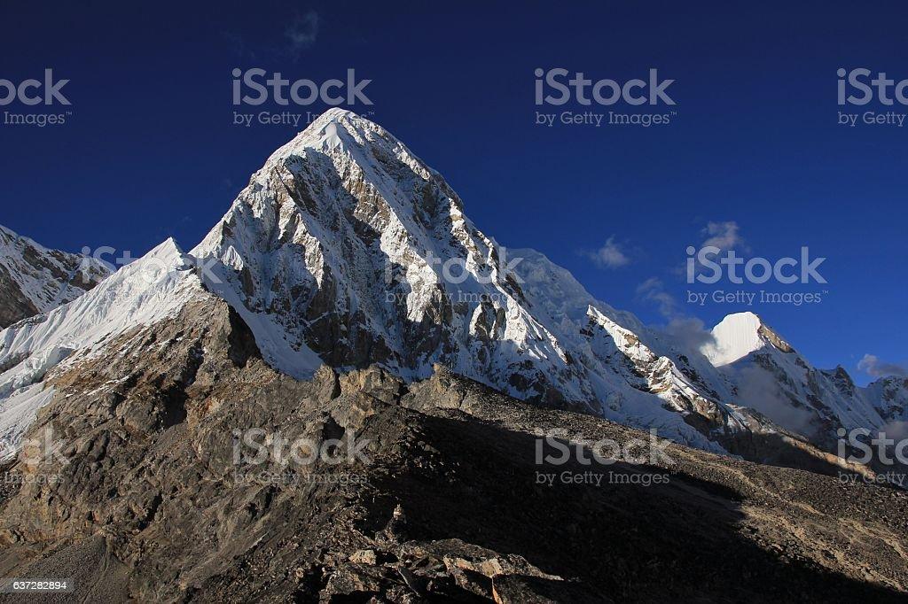Snow capped mount Pumori stock photo