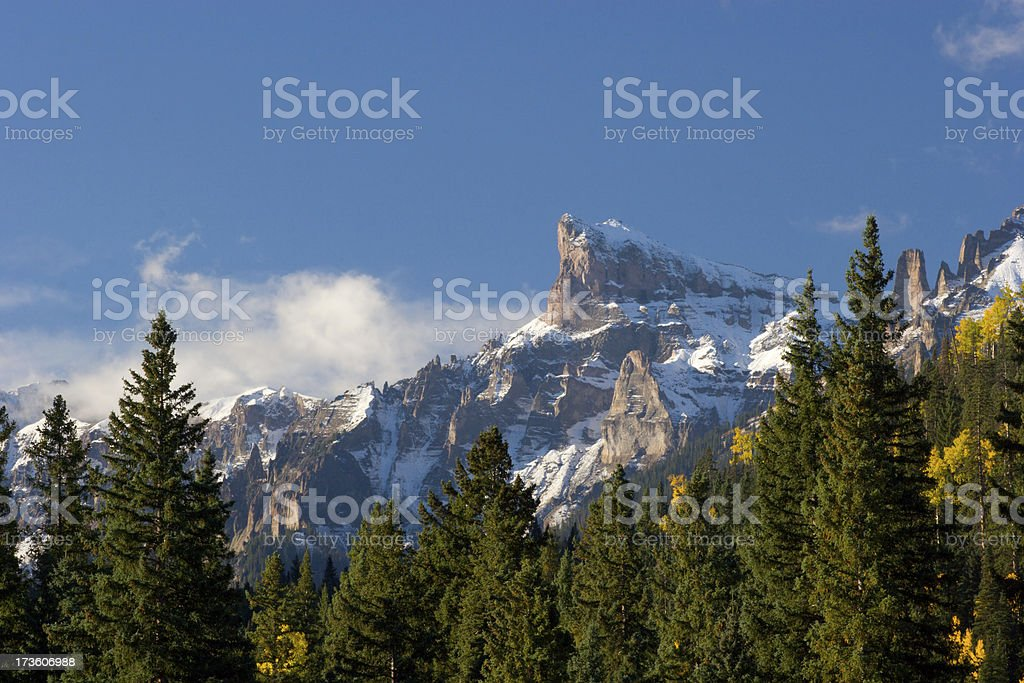 Snow Capped Mountain and Pine Forest stock photo