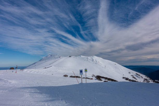Snow Capped Mountain - Mount Buller stock photo