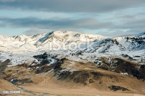 istock Snow Capped Mountain Peaks in Southern Iceland 1082104058