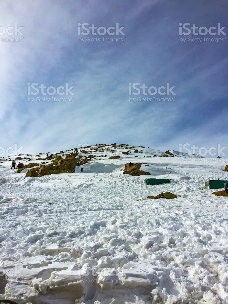 Snow Capped Mountains in Gulmarg stock photo