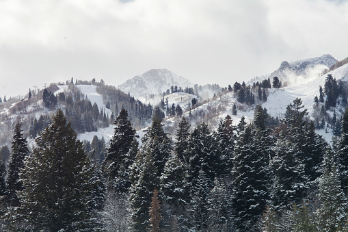 Snow Capped Mountains In Utah Winter Stock Photo - Download Image Now