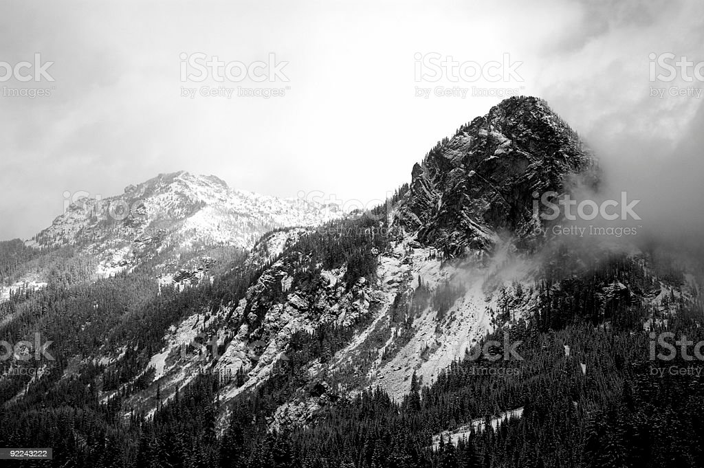 BW - Snow Capped Mountains stock photo