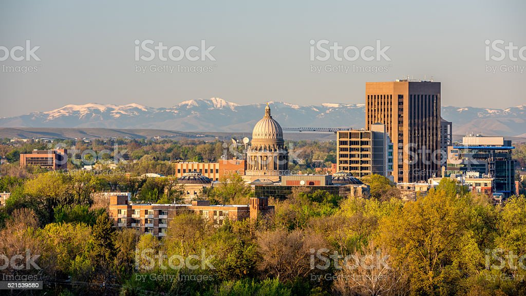 Snow capped Owyhee mountains and Idaho capital stock photo