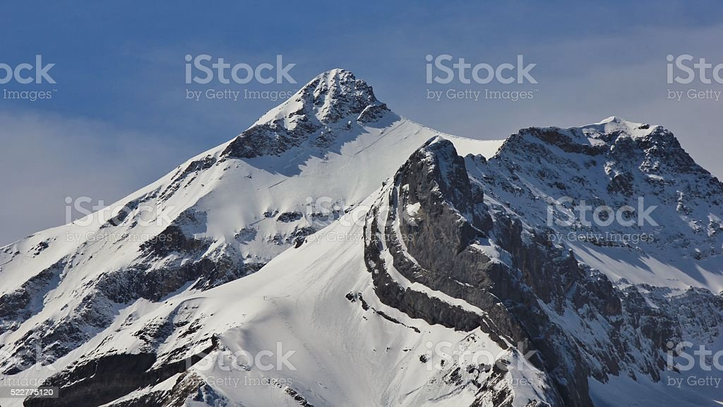 Snow capped peak of Mt Oldenhorn stock photo