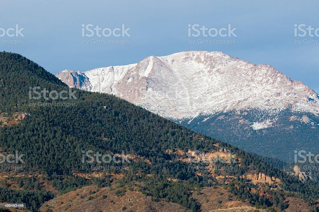 Snow Capped Pikes Peak Colorado stock photo