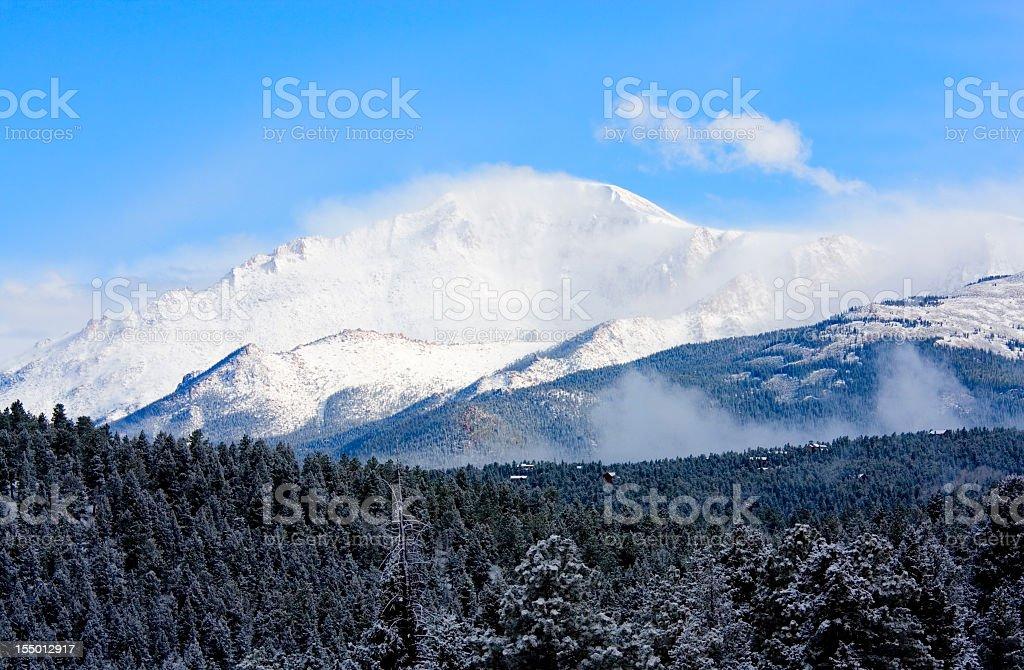 Snow Capped Pikes Peak stock photo
