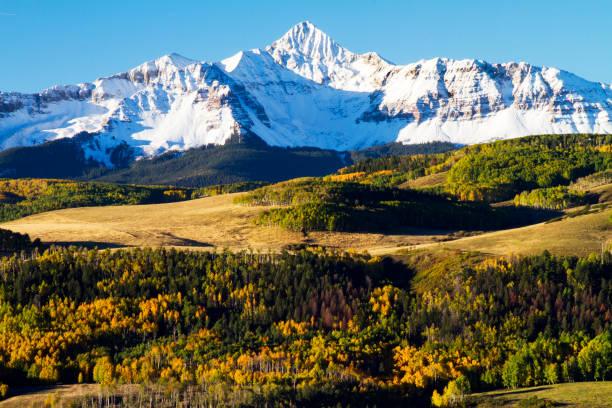 Snow Capped Rugged San Juan Mountains in Colorado at Fall Snow Capped Rugged San Juan Mountains in Colorado at Fall san juan mountains stock pictures, royalty-free photos & images