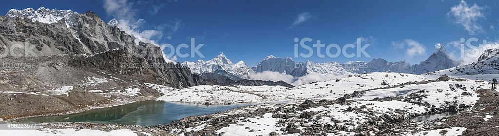 Snow capped summits jagged mountain peak wilderness panorama Himalaya Nepal royalty-free stock photo