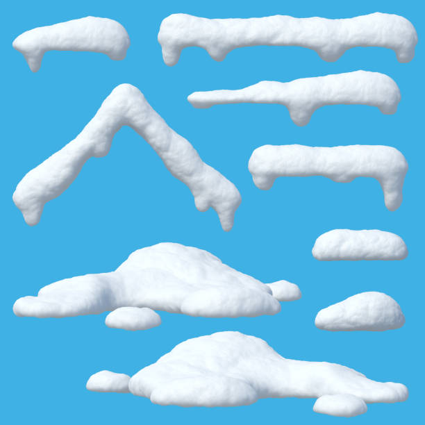 Snow caps set, icicles, snowballs and snowdrifts Snow caps set, icicles, snowballs and snowdrifts isolated on blue background 3d rendering and stock pictures, royalty-free photos & images