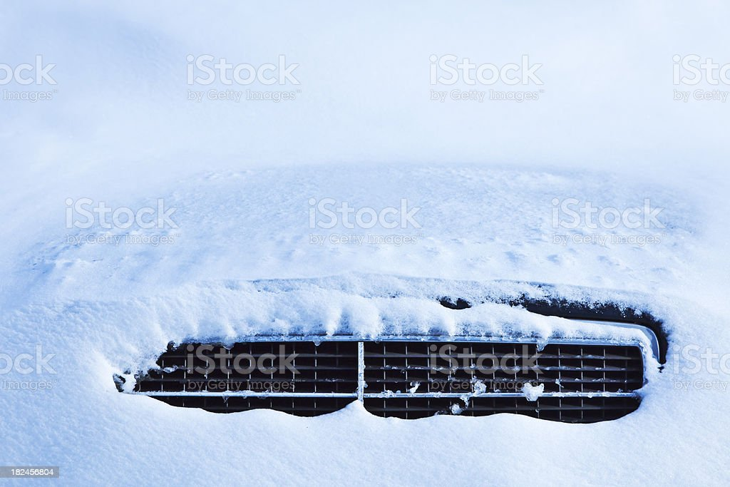 Snow car grill royalty-free stock photo