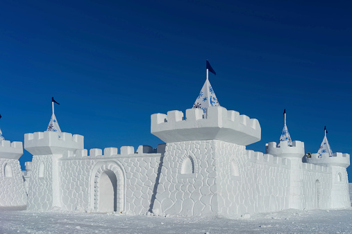 Snow castle in a freezing cold clear day