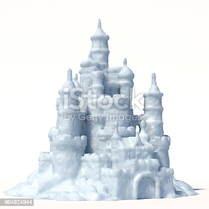 Snow Castle Isolated On White Background Stock Photo & More Pictures of Abstract