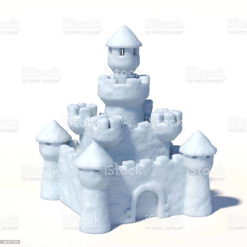Snow castle isolated on white background royalty-free stock photo