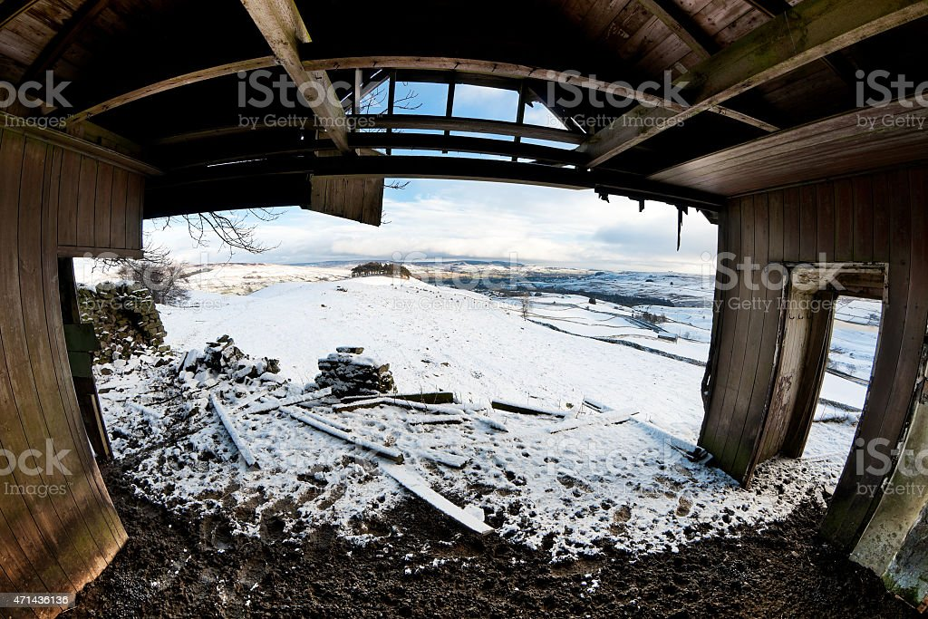 Snow chalet, Greengates, Upper Teesdale, County Durham, UK stock photo