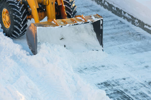 Snow clearing. stock photo