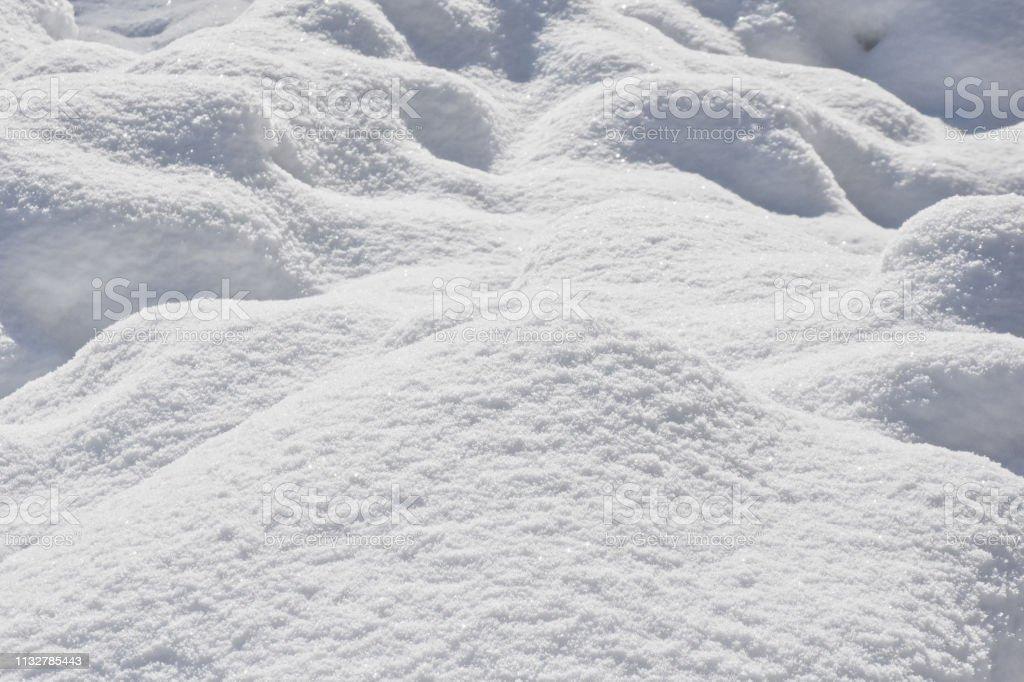 Snow close-up like white fabric stock photo