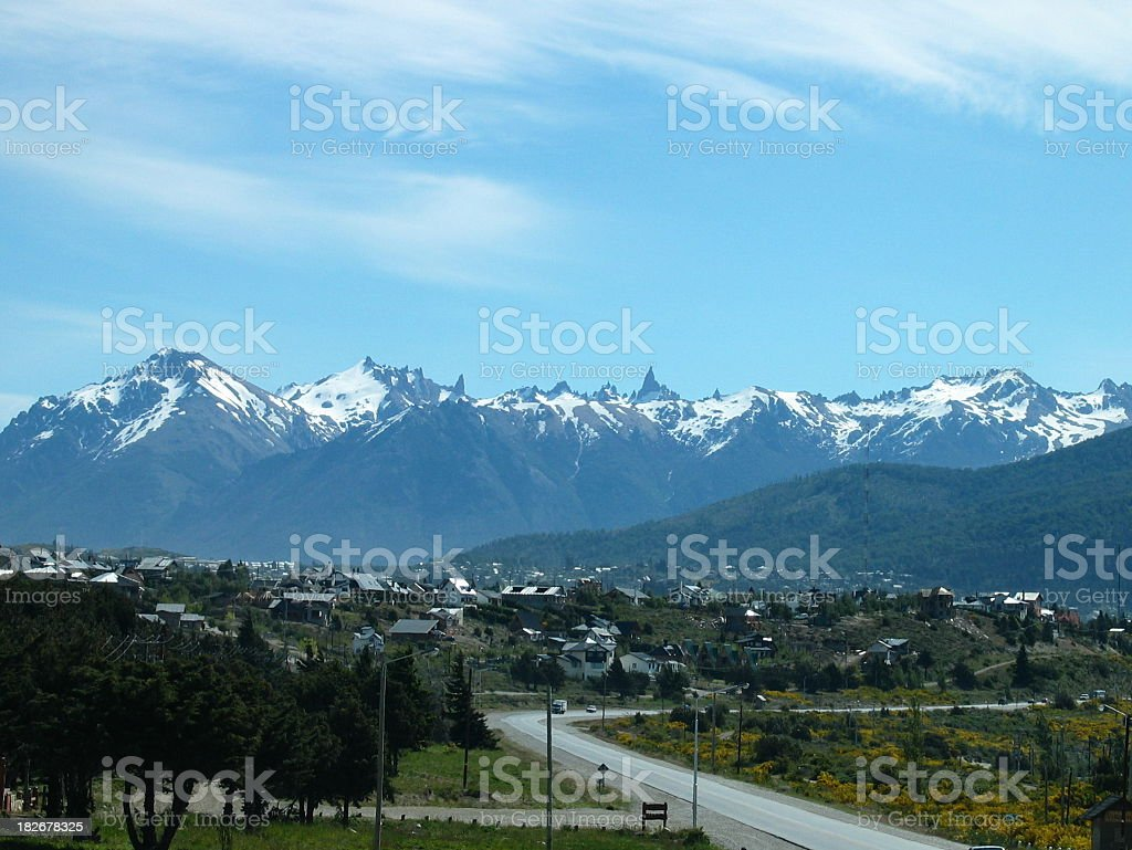 Snow covered Andes mountains over Bariloche, Argentina stock photo