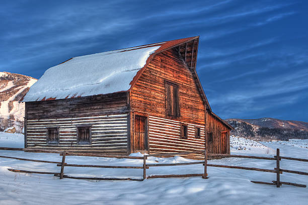 Snow Covered Barn stock photo