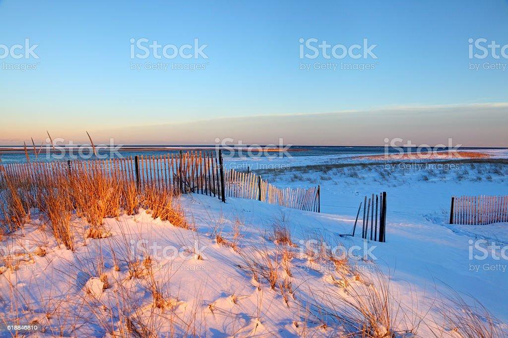 Snow covered beach on Cape Cod stock photo