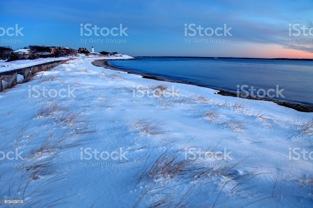 Snow covered beach on Cape Cod stock photo
