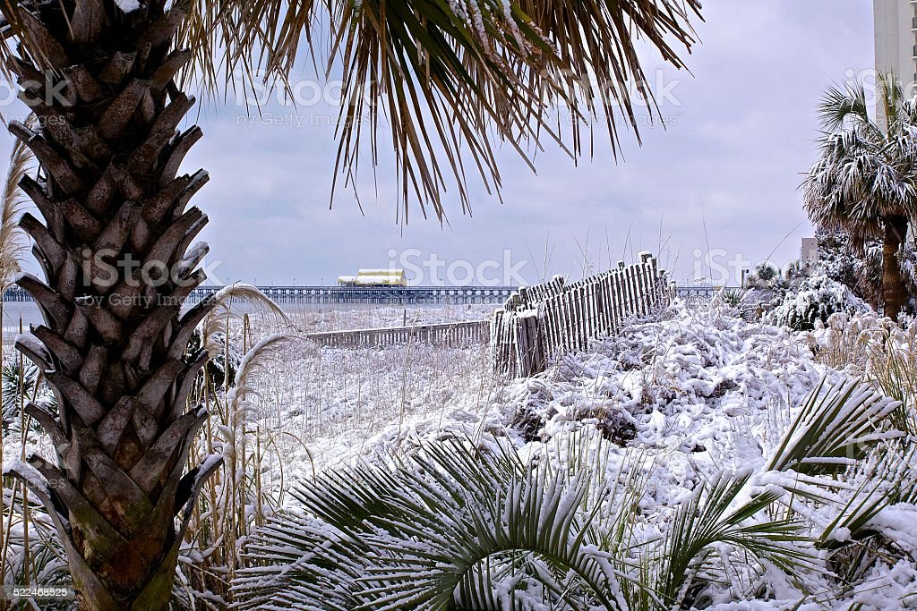 Snow Covered Beach stock photo