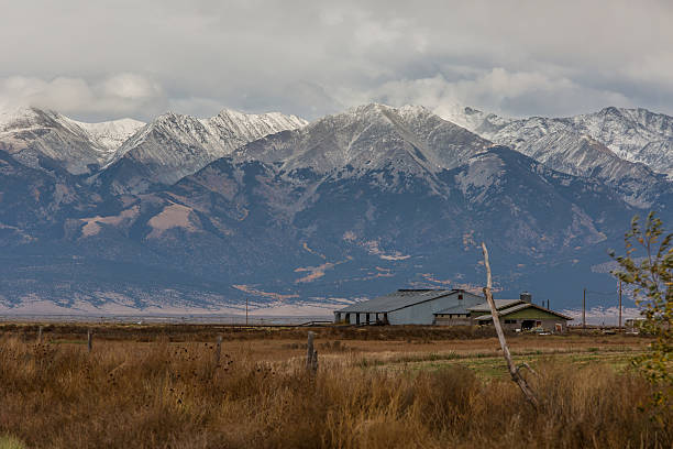 Snow Covered Blanca Peak on a Stormy Day stock photo