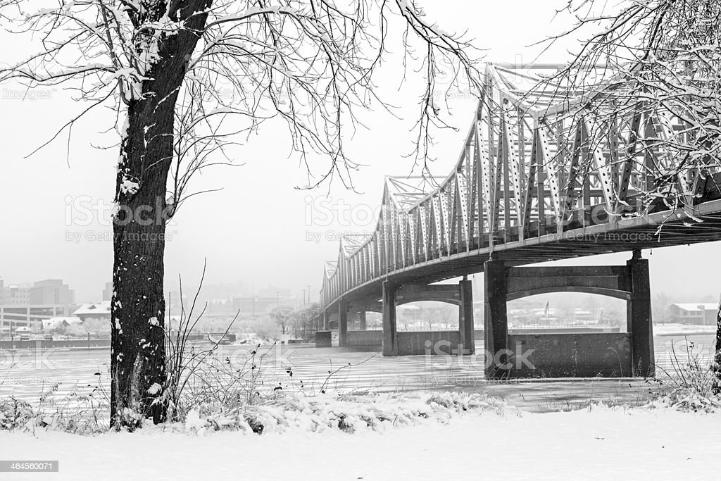 Snow covered bridge over Illinois River stock photo