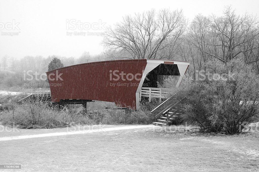 Snow, Covered Bridge royalty-free stock photo