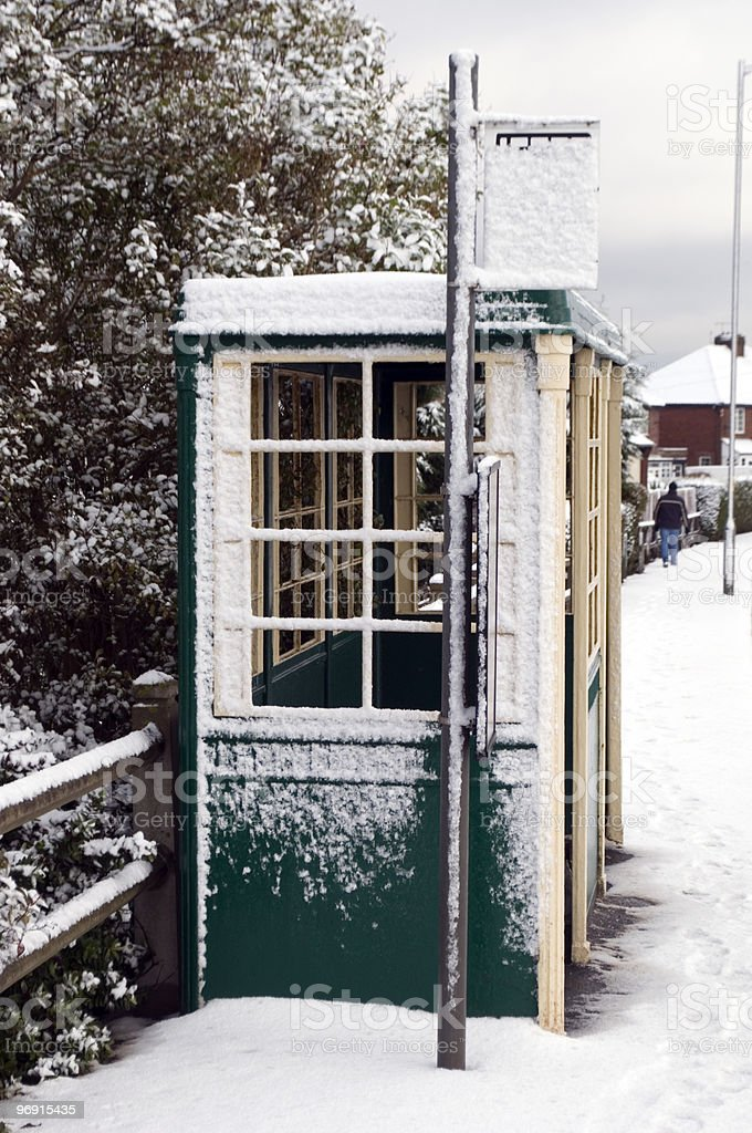 Snow Covered Bus Stop royalty-free stock photo