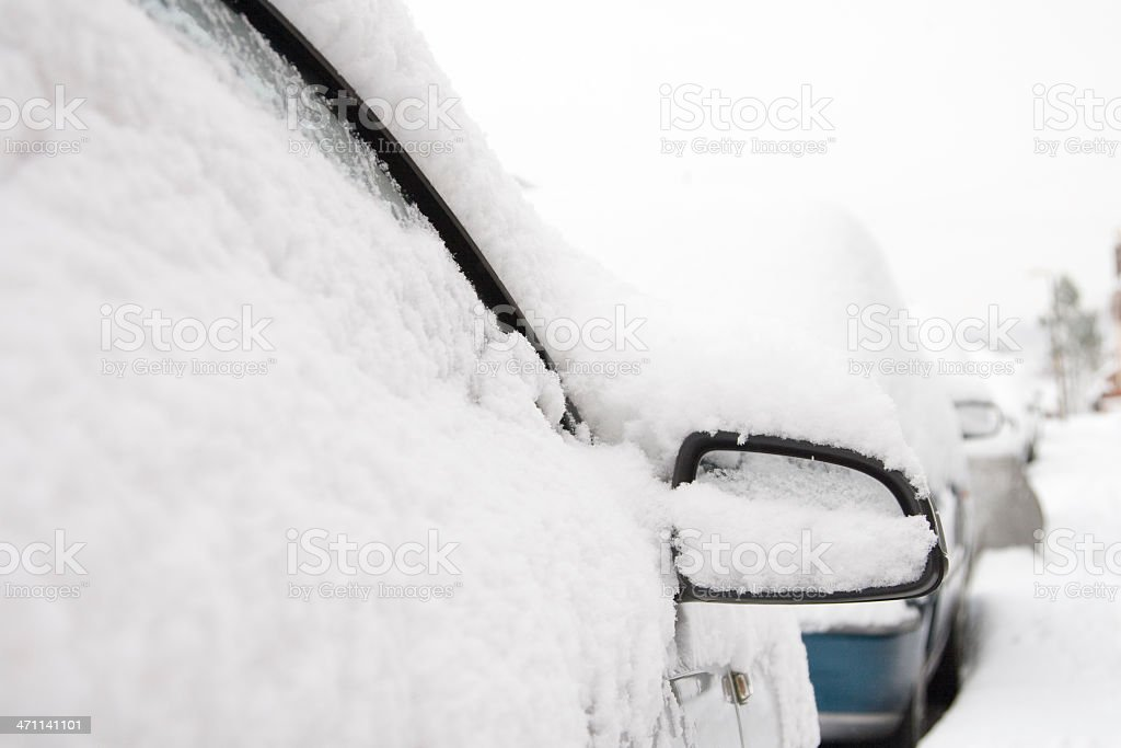Snow Covered Cars stock photo