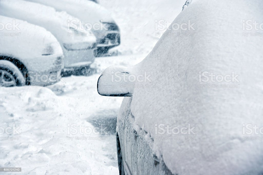 snow covered cars royalty-free stock photo