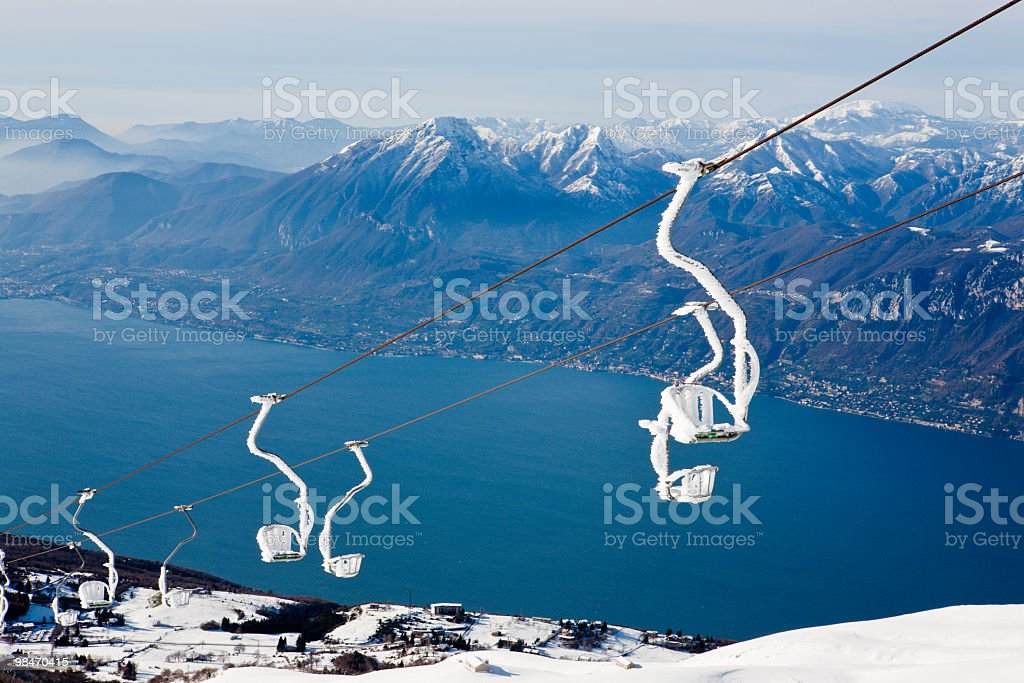 Snow Covered Chairlift, Monte Baldo royalty-free stock photo