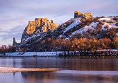 Snow Covered Devin Castle Ruins above the Danube River in Bratislava, Slovakia at Sunrise