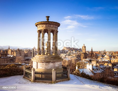 A snowy view from Calton HIll over the city of Edinburgh, with the stone memorial to Dugald Stewart (1753 - 1828) in the foreground.