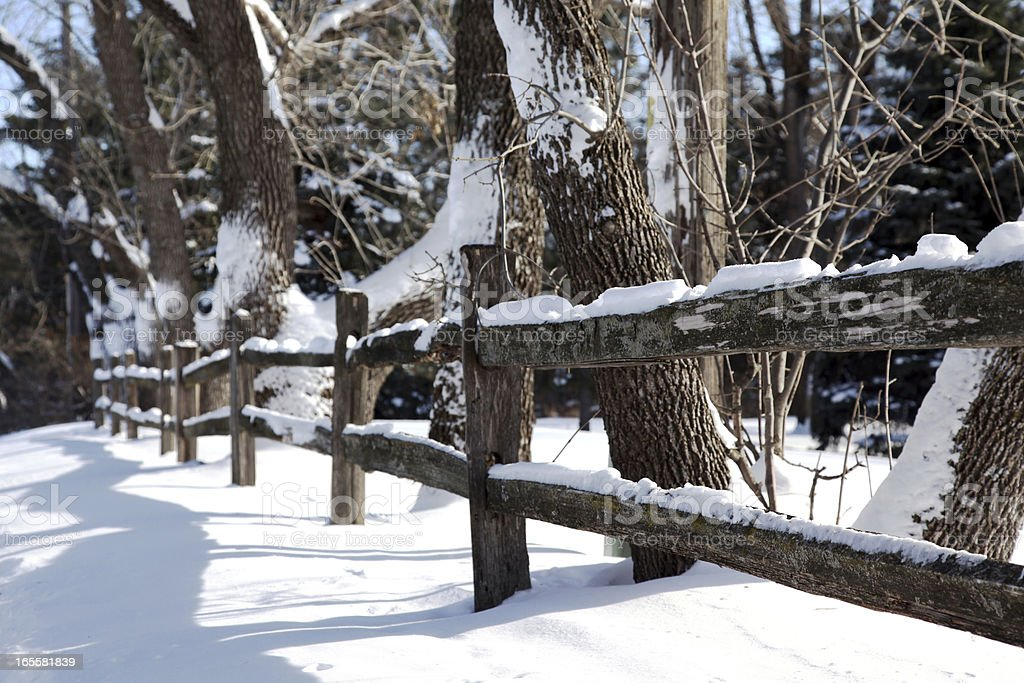 Snow Covered Fence royalty-free stock photo