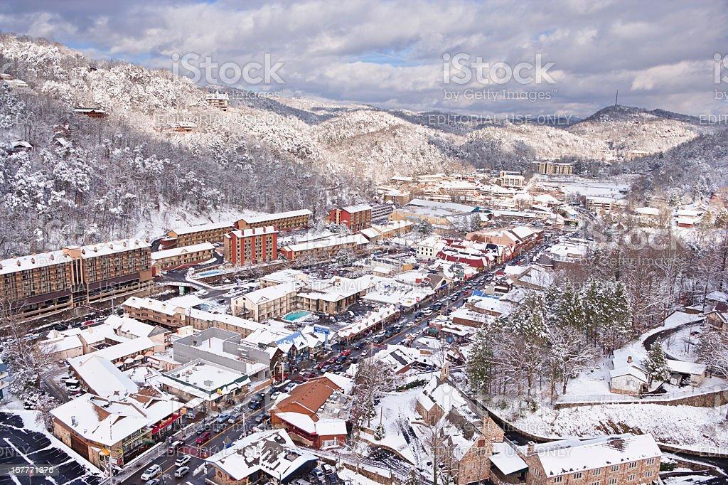 Snow covered Gatlinburg near the Smoky Mountains stock photo